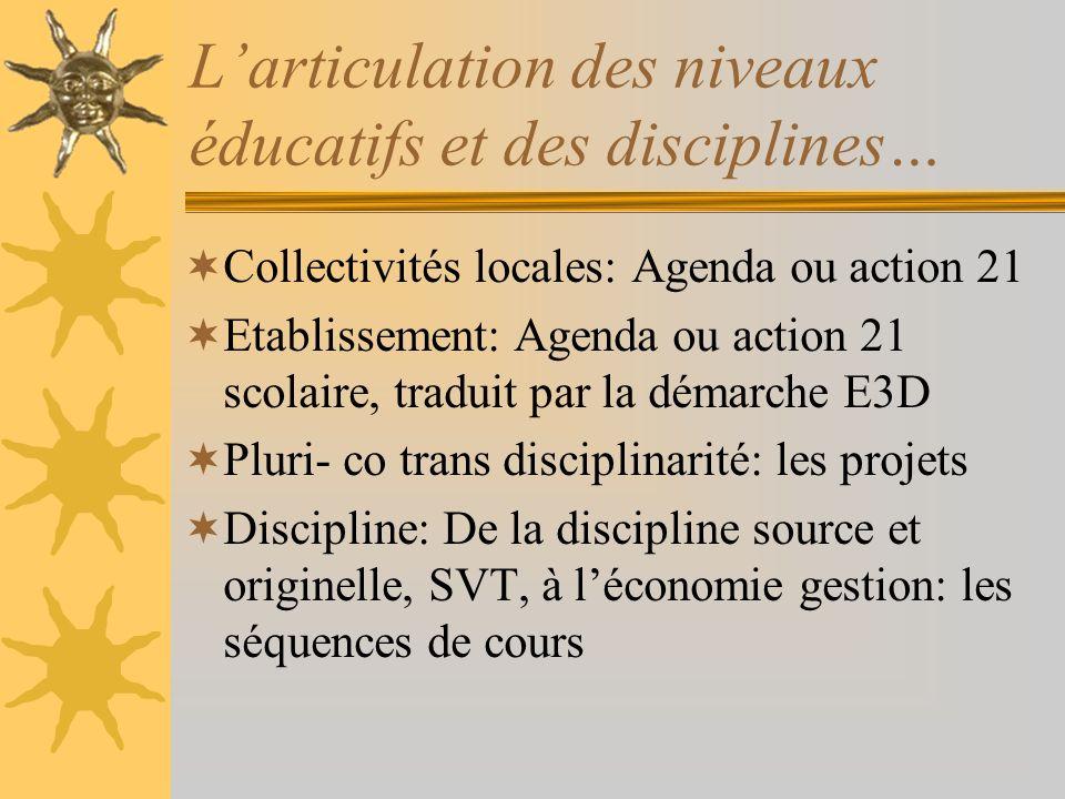 L'articulation des niveaux éducatifs et des disciplines…