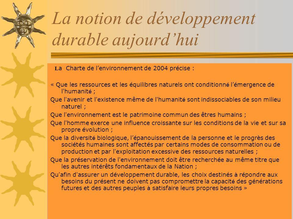 La notion de développement durable aujourd'hui