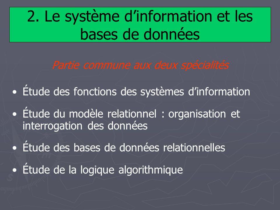 2. Le système d'information et les bases de données