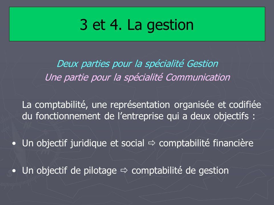 3 et 4. La gestion Deux parties pour la spécialité Gestion