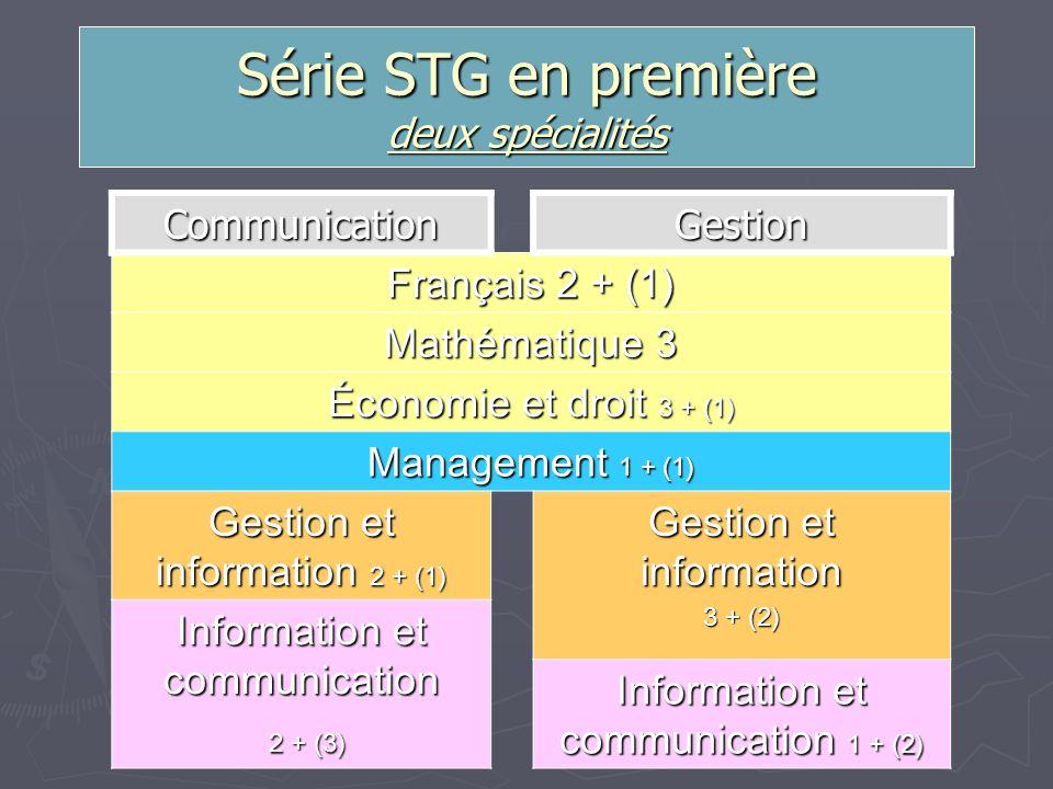 Série STG en première deux spécialités