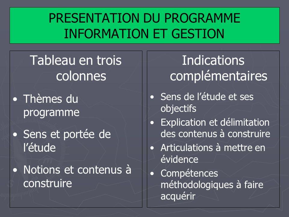 PRESENTATION DU PROGRAMME INFORMATION ET GESTION