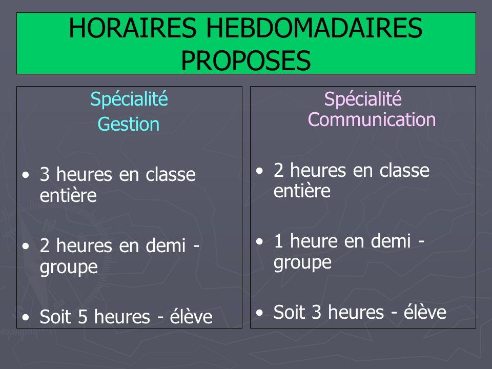 HORAIRES HEBDOMADAIRES PROPOSES