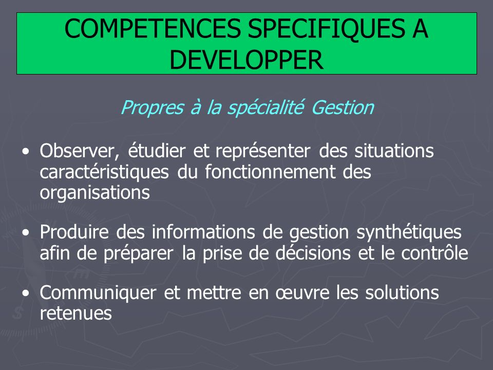 COMPETENCES SPECIFIQUES A DEVELOPPER
