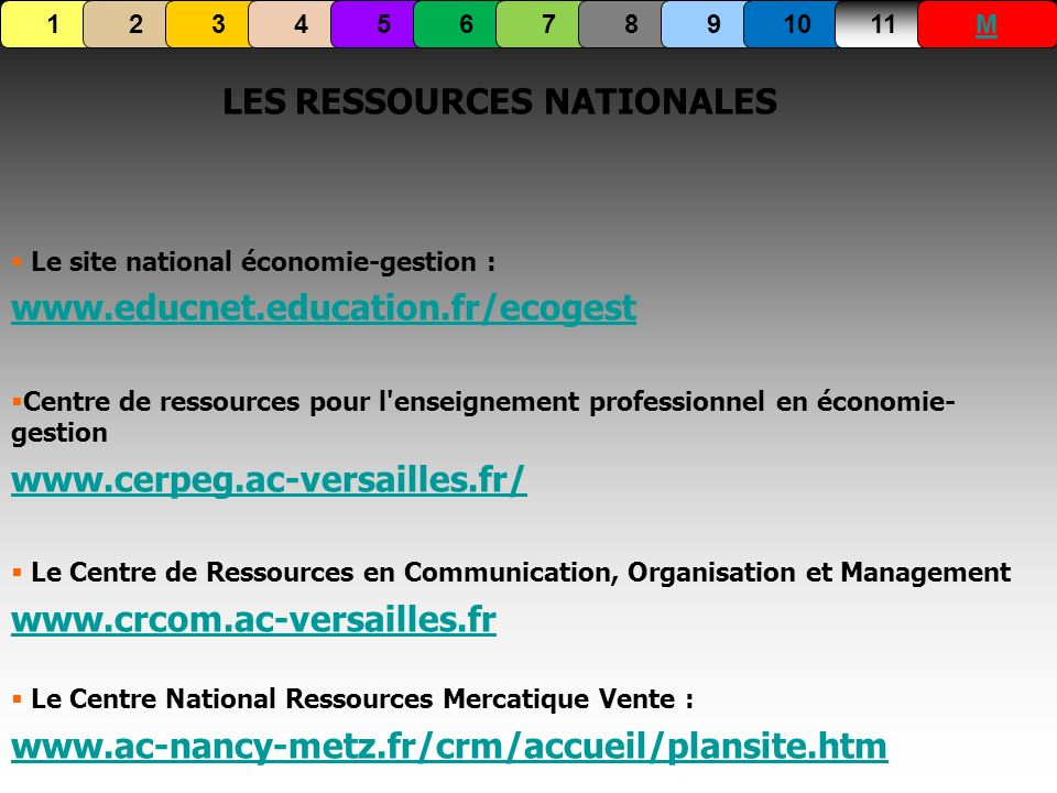 LES RESSOURCES NATIONALES
