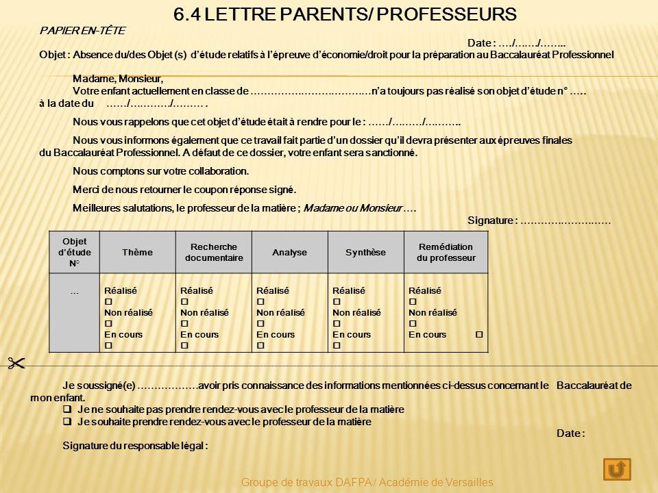 6.4 LETTRE PARENTS/ PROFESSEURS Recherche documentaire