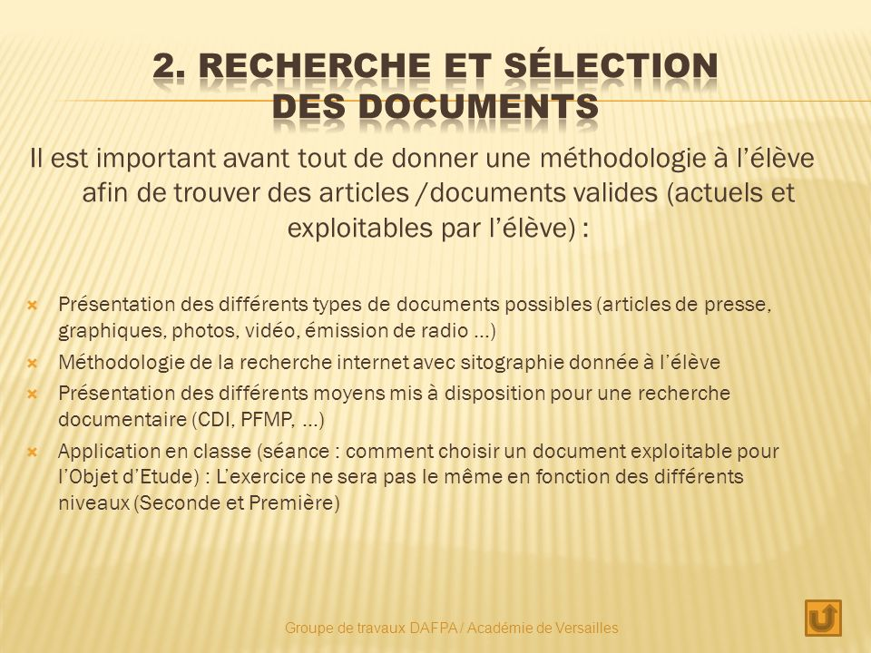 2. Recherche et sélection des documents