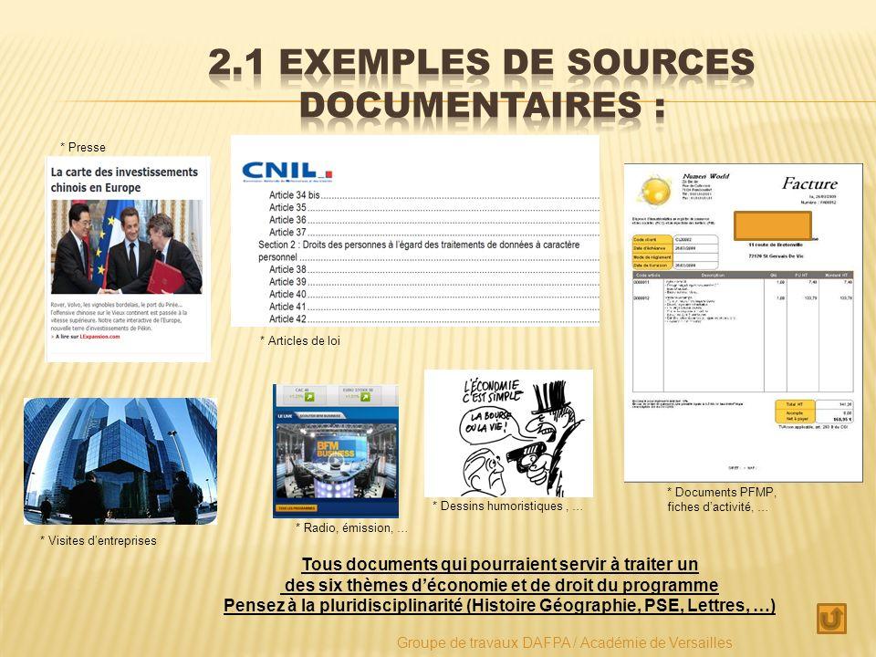 2.1 Exemples de sources documentaires :