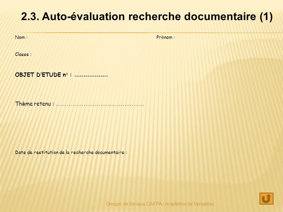 2.3. Auto-évaluation recherche documentaire (1)