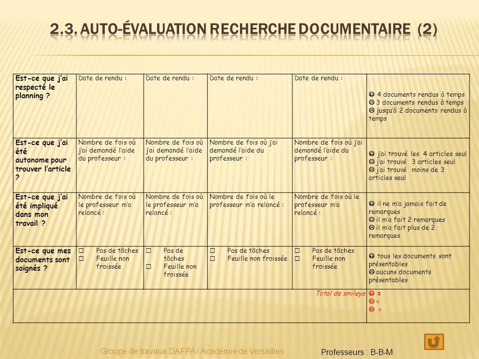2.3. Auto-évaluation recherche documentaire (2)
