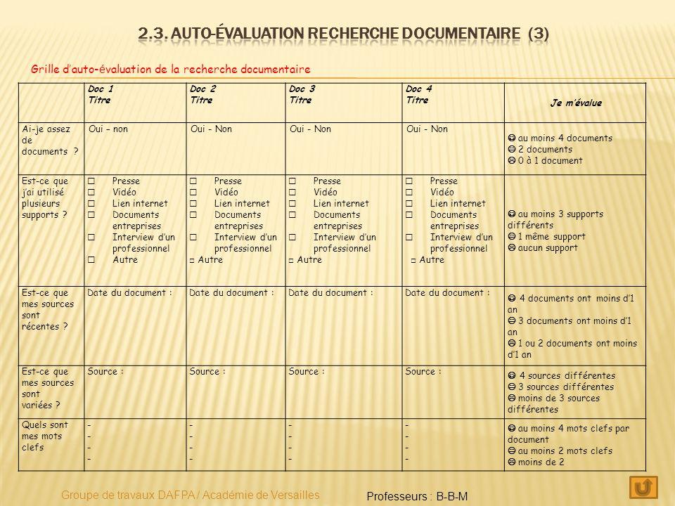 2.3. Auto-évaluation recherche documentaire (3)