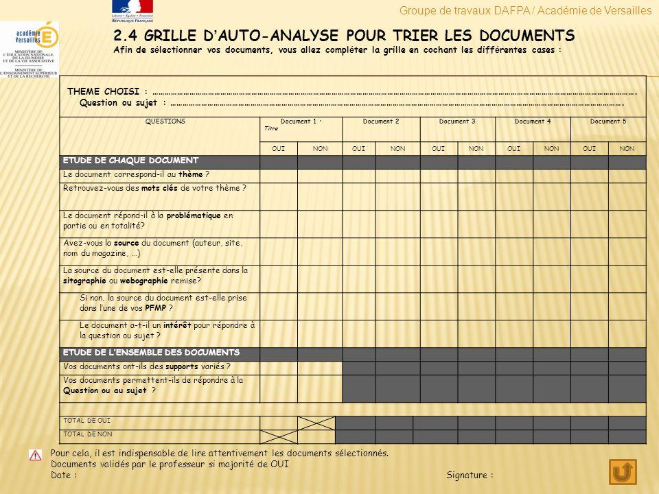 2.4 GRILLE D'AUTO-ANALYSE POUR TRIER LES DOCUMENTS