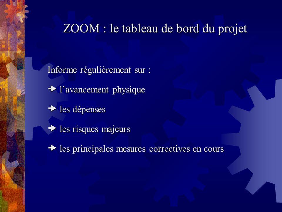ZOOM : le tableau de bord du projet