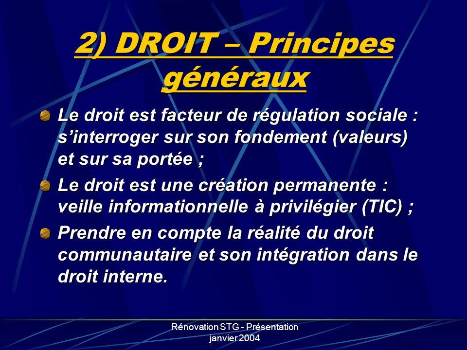 2) DROIT – Principes généraux
