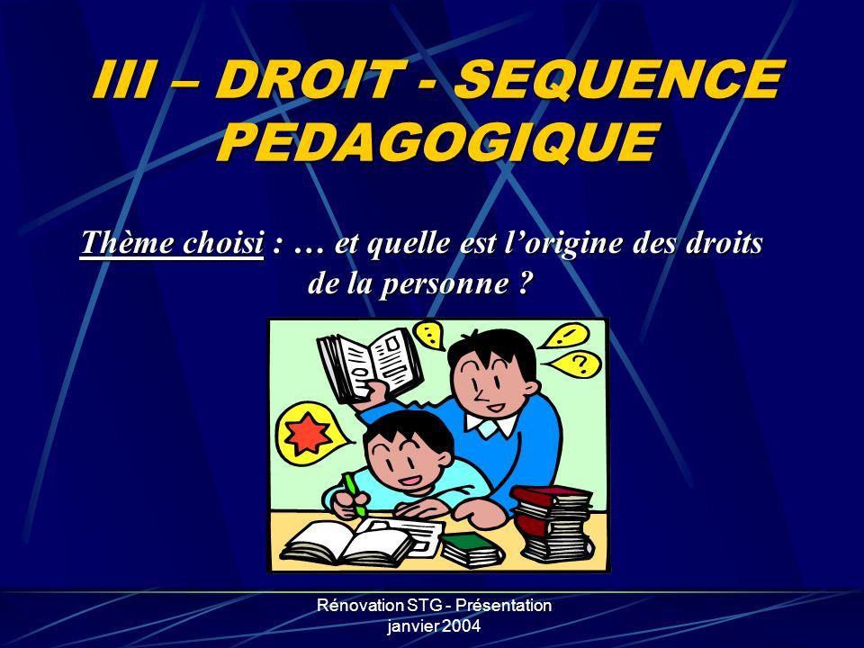 III – DROIT - SEQUENCE PEDAGOGIQUE