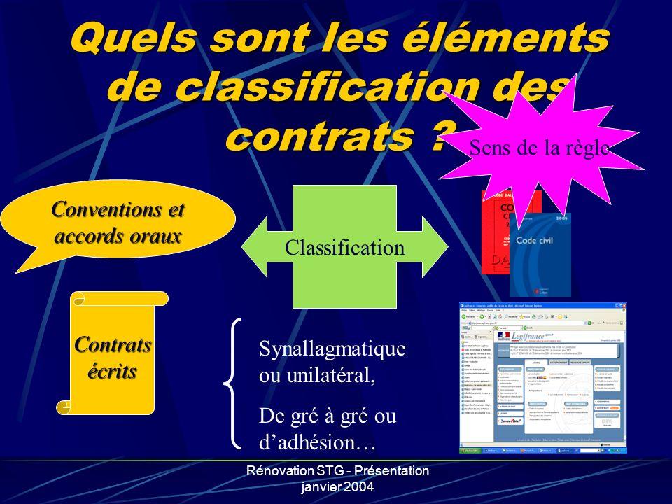 Quels sont les éléments de classification des contrats
