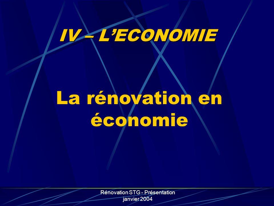 La rénovation en économie