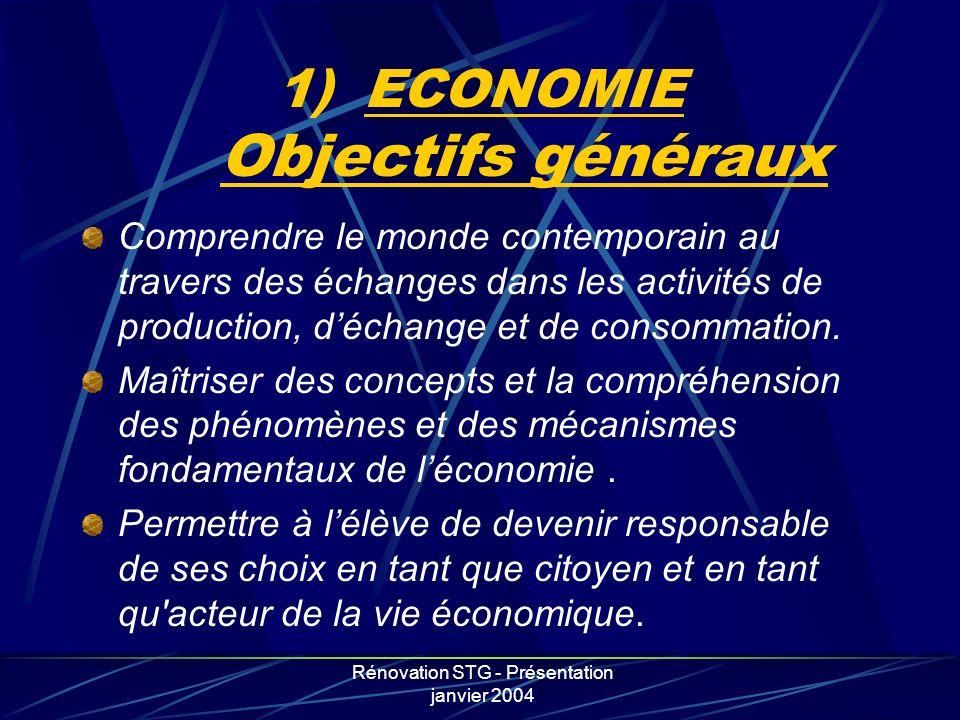 ECONOMIE Objectifs généraux