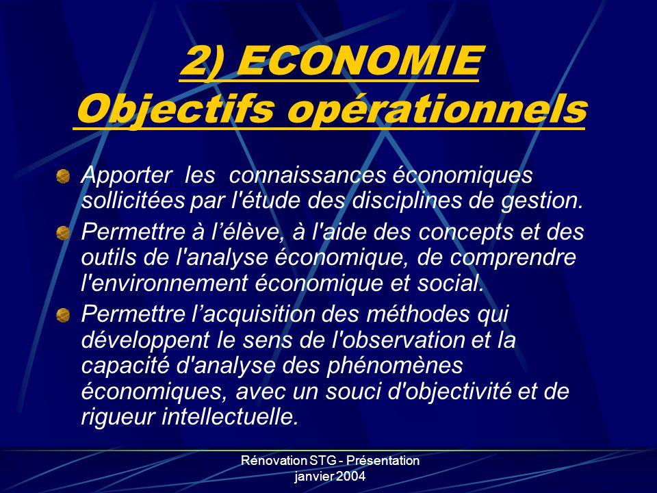 2) ECONOMIE Objectifs opérationnels