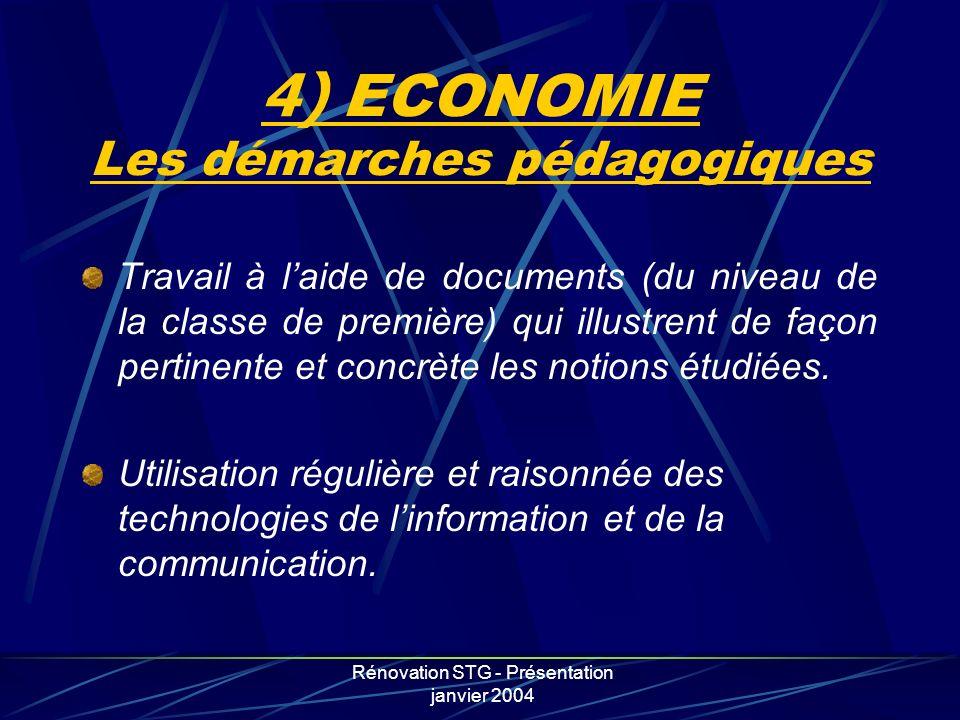 4) ECONOMIE Les démarches pédagogiques