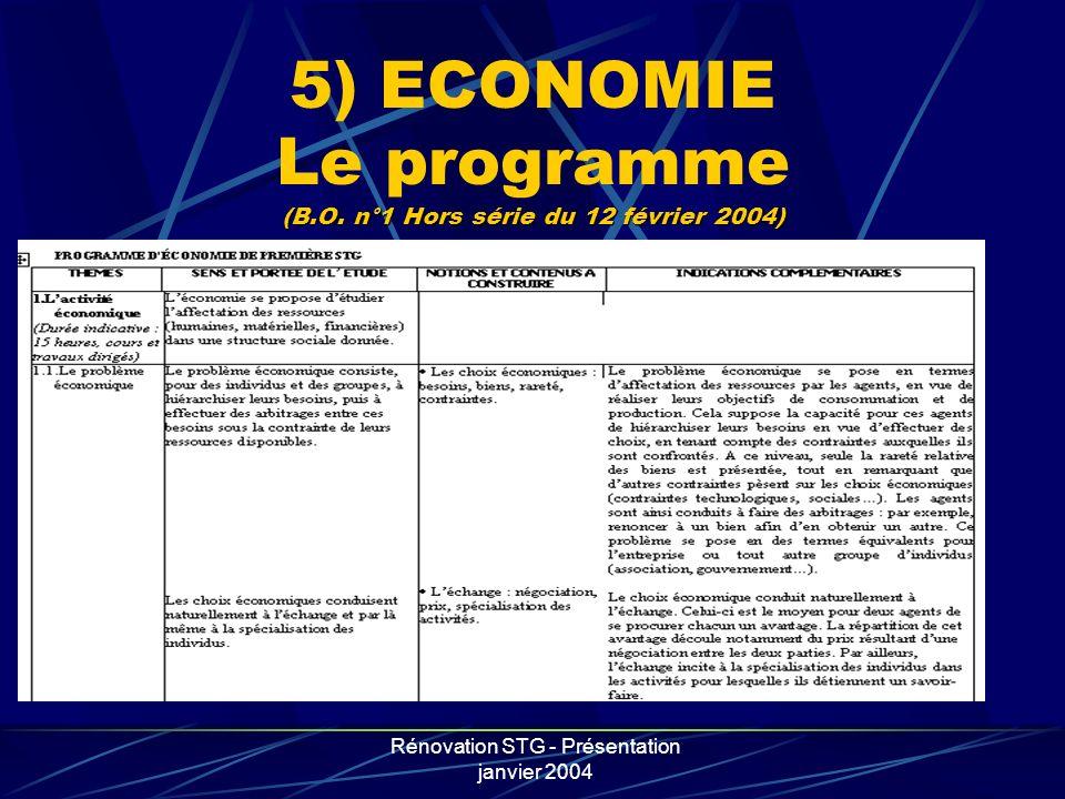 5) ECONOMIE Le programme (B.O. n°1 Hors série du 12 février 2004)
