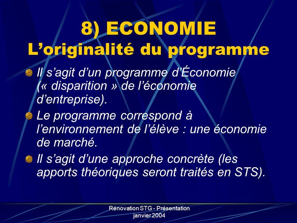 8) ECONOMIE L'originalité du programme