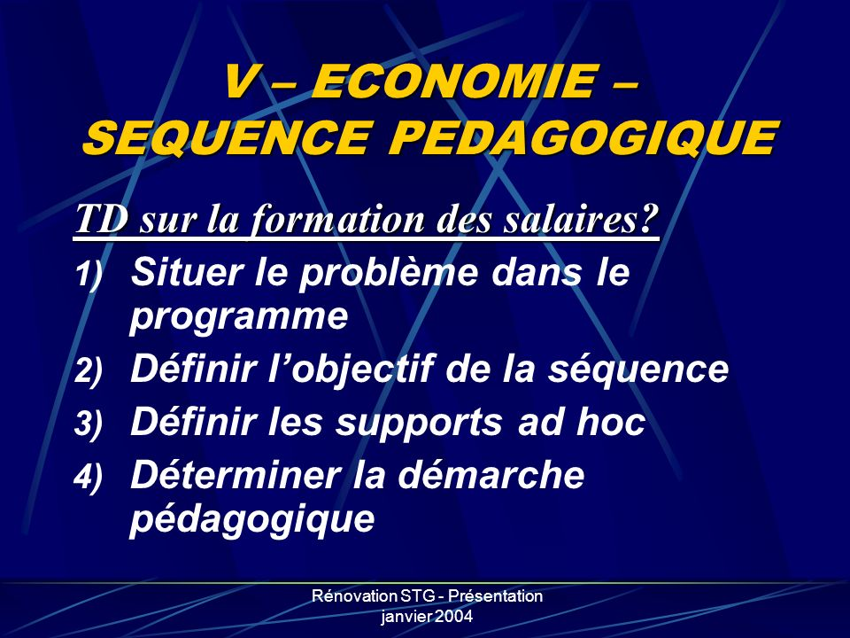 V – ECONOMIE – SEQUENCE PEDAGOGIQUE