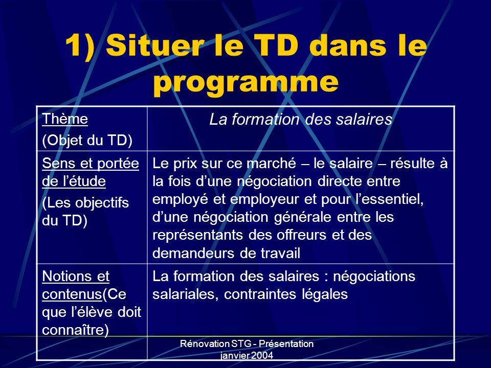 1) Situer le TD dans le programme