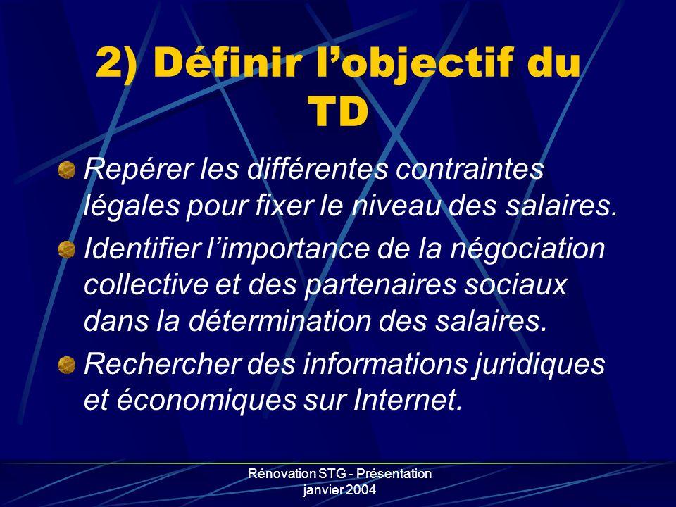 2) Définir l'objectif du TD