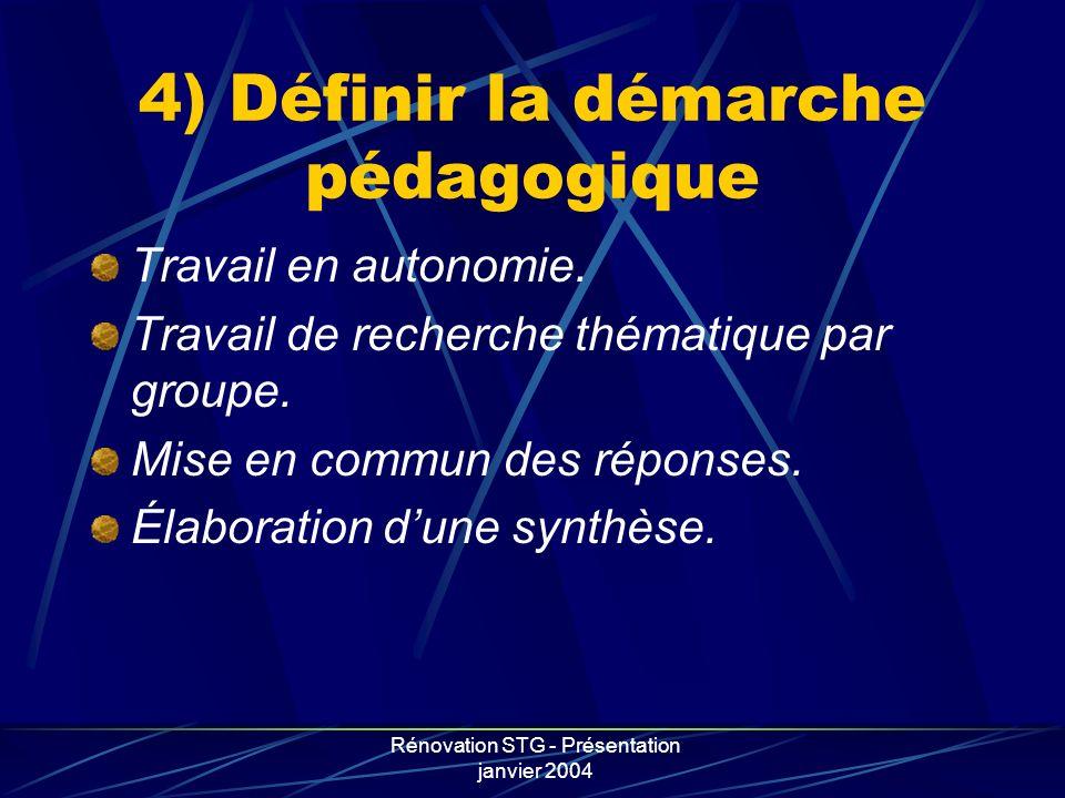 4) Définir la démarche pédagogique