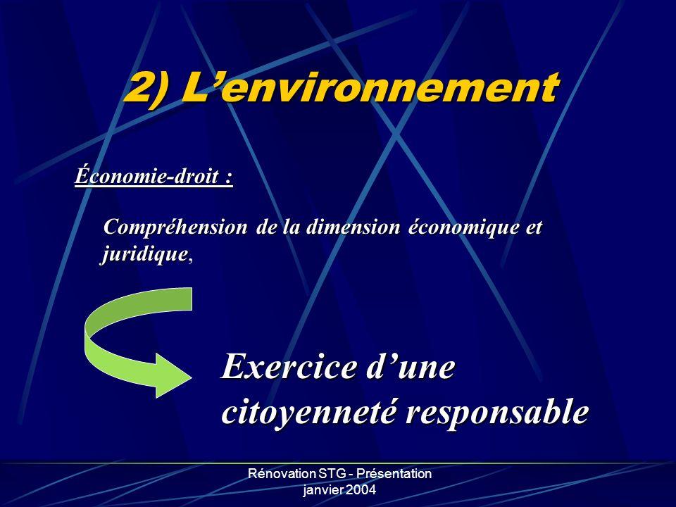 Rénovation STG - Présentation janvier 2004