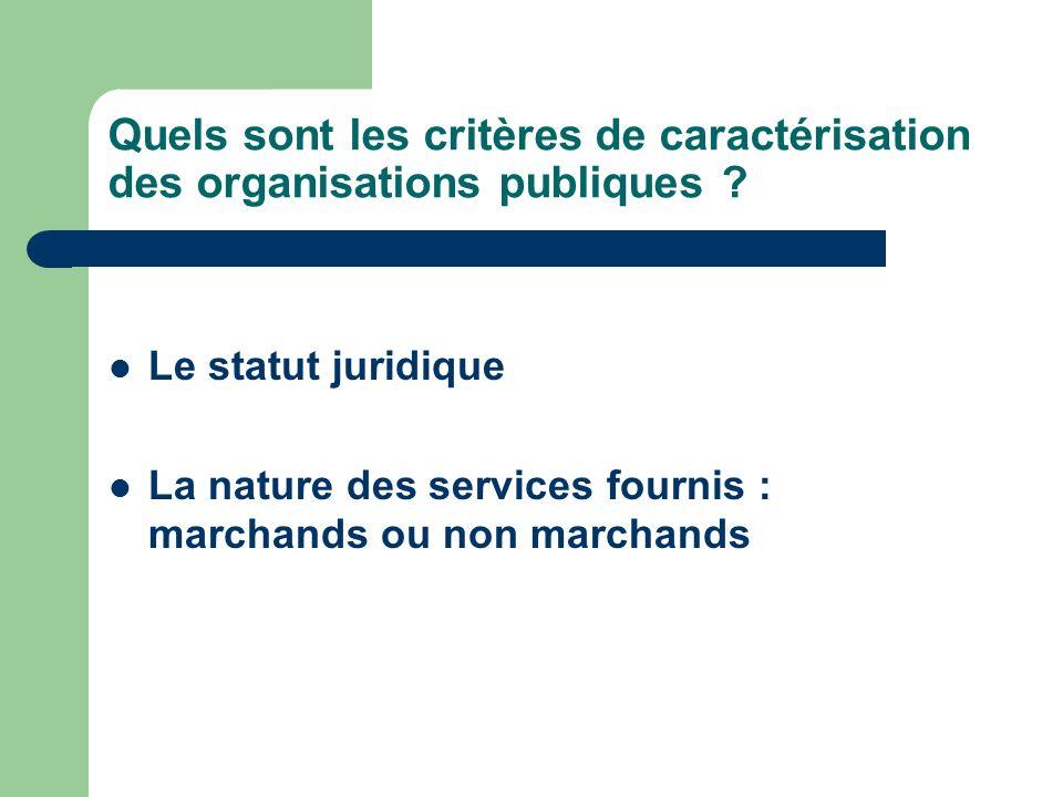 Quels sont les critères de caractérisation des organisations publiques