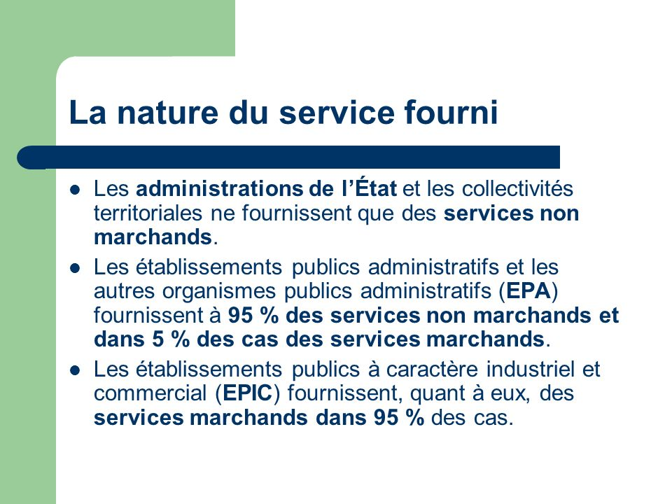 La nature du service fourni