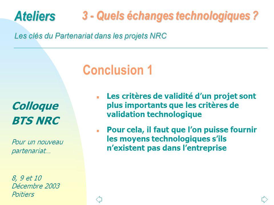 Conclusion 1 3 - Quels échanges technologiques