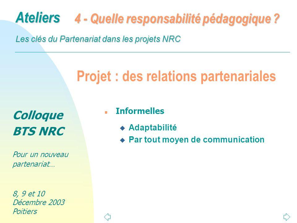 Projet : des relations partenariales