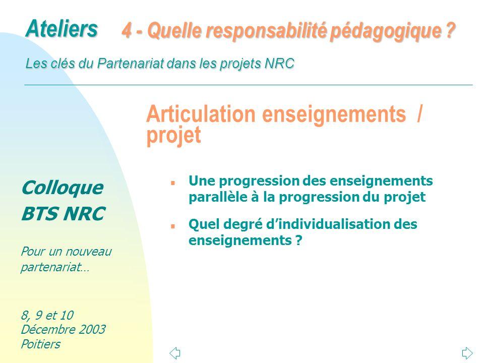 Articulation enseignements / projet