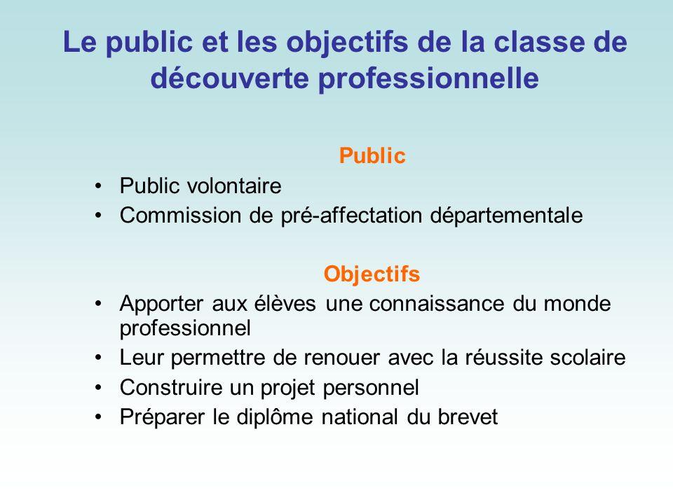Le public et les objectifs de la classe de découverte professionnelle