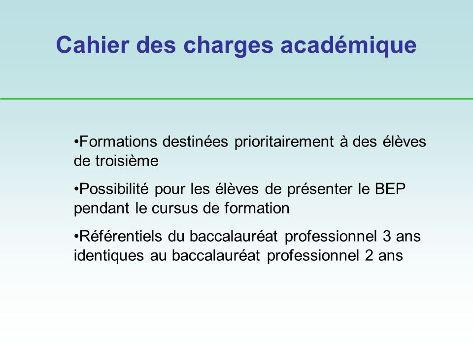 Cahier des charges académique