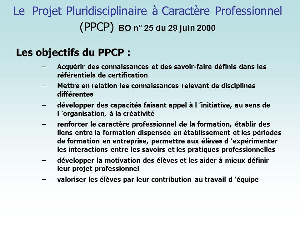 Le Projet Pluridisciplinaire à Caractère Professionnel (PPCP) BO n° 25 du 29 juin 2000