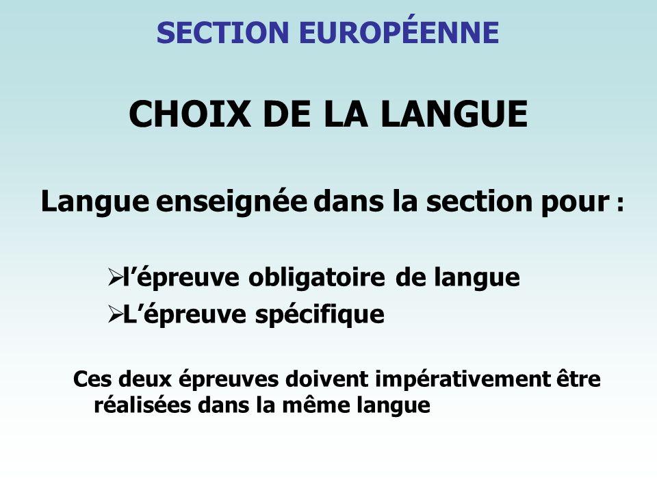CHOIX DE LA LANGUE SECTION EUROPÉENNE