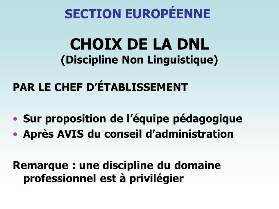 CHOIX DE LA DNL (Discipline Non Linguistique)