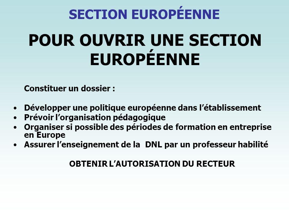 POUR OUVRIR UNE SECTION EUROPÉENNE