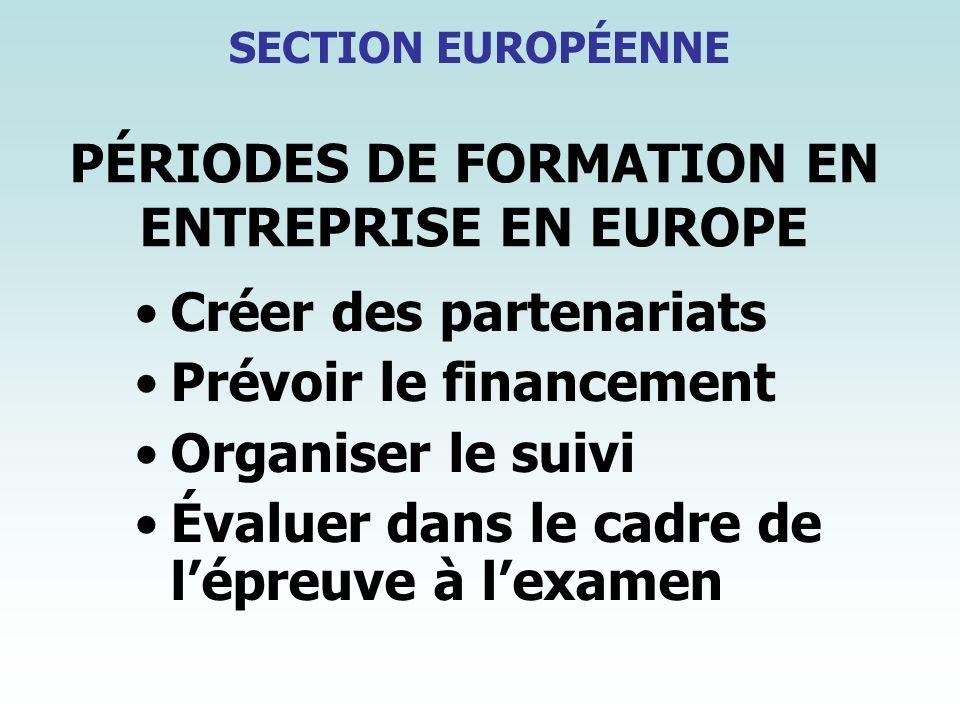 PÉRIODES DE FORMATION EN ENTREPRISE EN EUROPE