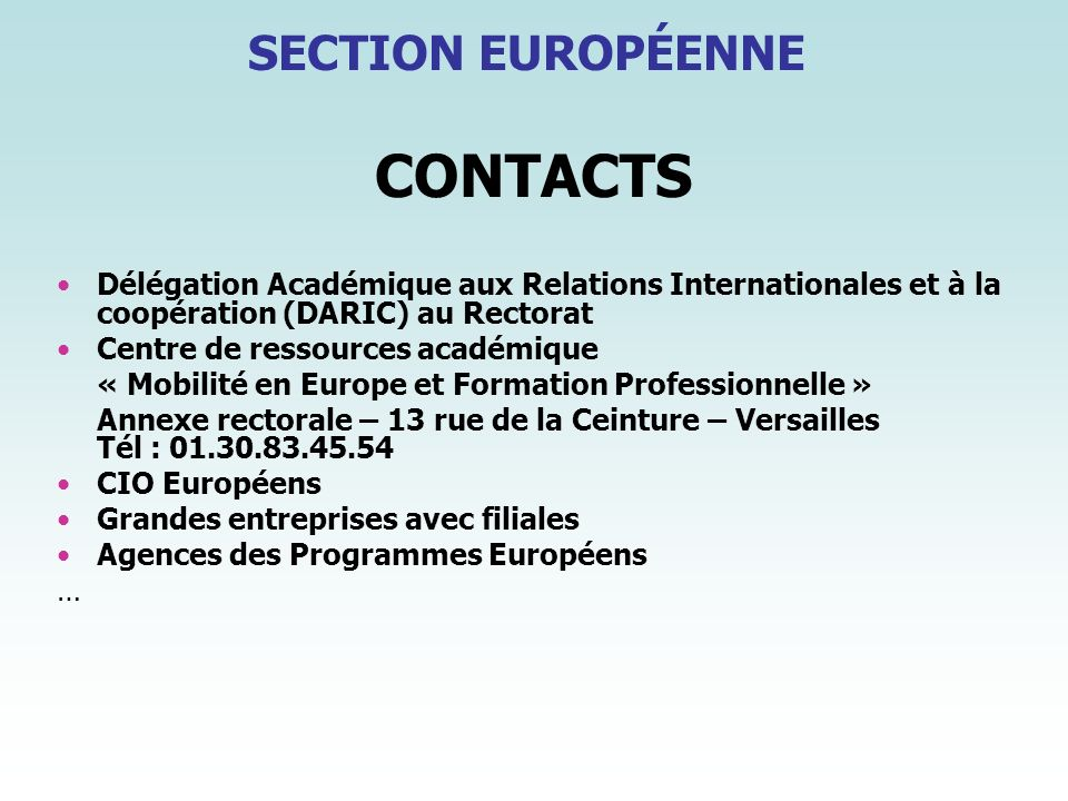 CONTACTS SECTION EUROPÉENNE