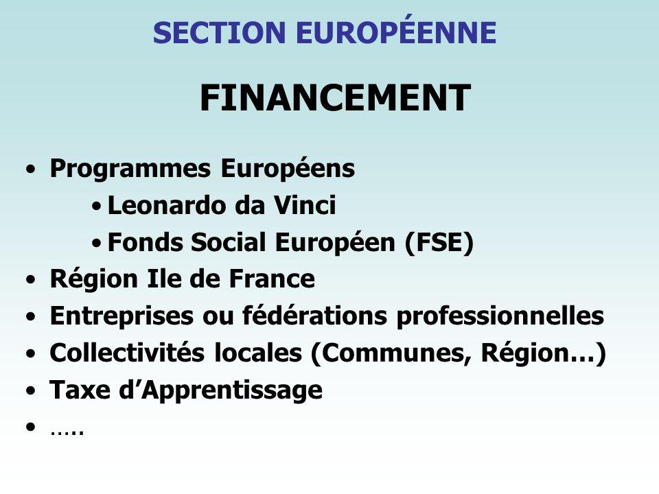 FINANCEMENT SECTION EUROPÉENNE Programmes Européens Leonardo da Vinci