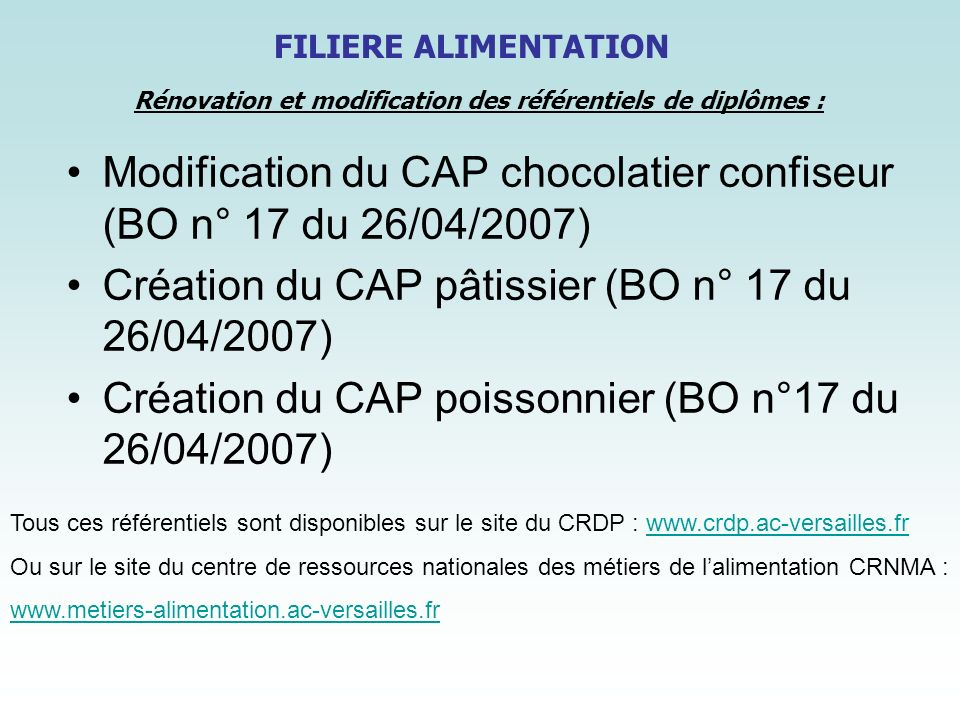 Modification du CAP chocolatier confiseur (BO n° 17 du 26/04/2007)