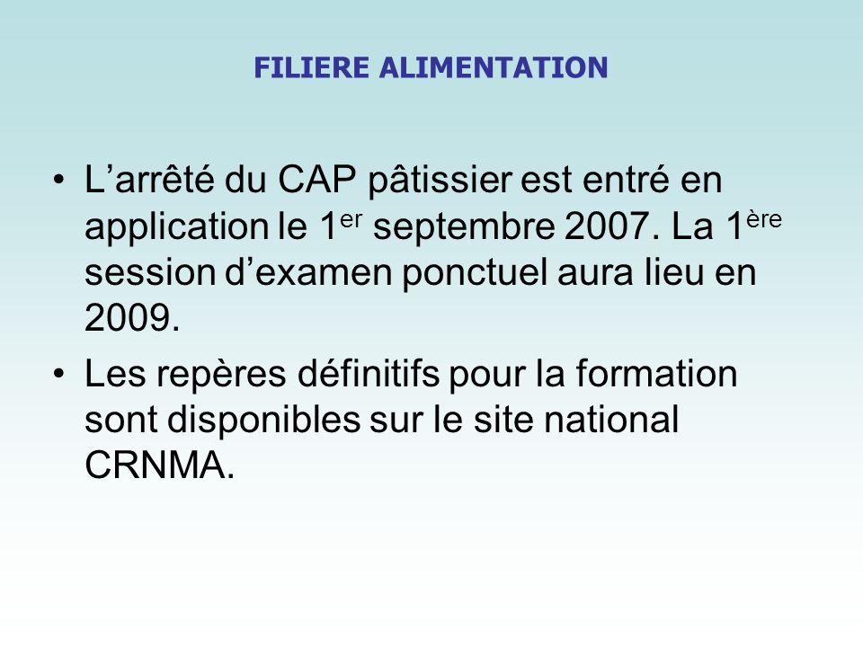 FILIERE ALIMENTATIONL'arrêté du CAP pâtissier est entré en application le 1er septembre 2007. La 1ère session d'examen ponctuel aura lieu en 2009.