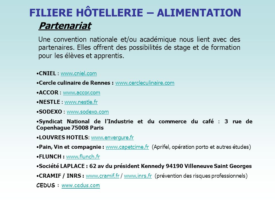 FILIERE HÔTELLERIE – ALIMENTATION