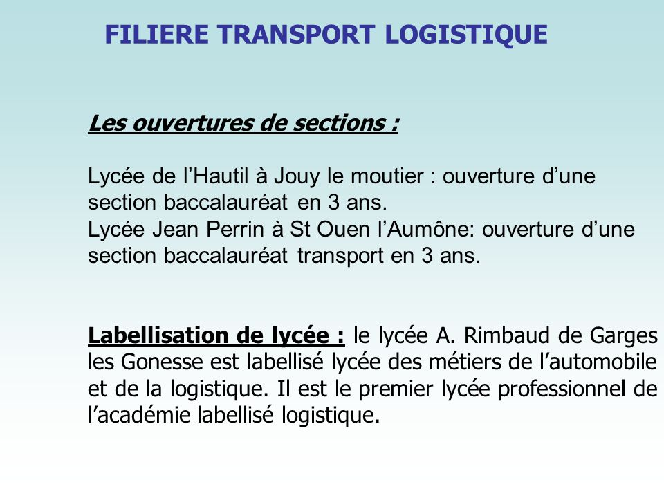 FILIERE TRANSPORT LOGISTIQUE