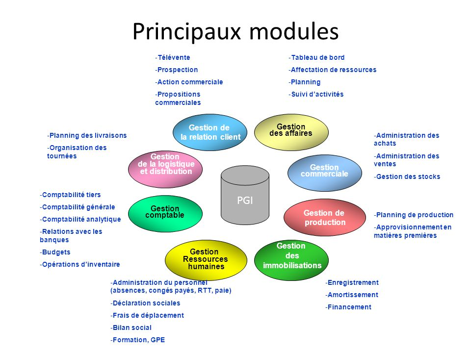 Principaux modules PGI Gestion de Gestion la relation client